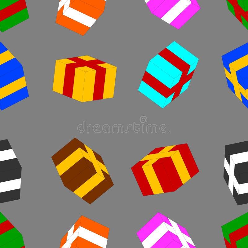 Безшовная картина с покрашенными подарочными коробками на серой предпосылке вода вектора свежей иллюстрации конструкции естествен иллюстрация штока