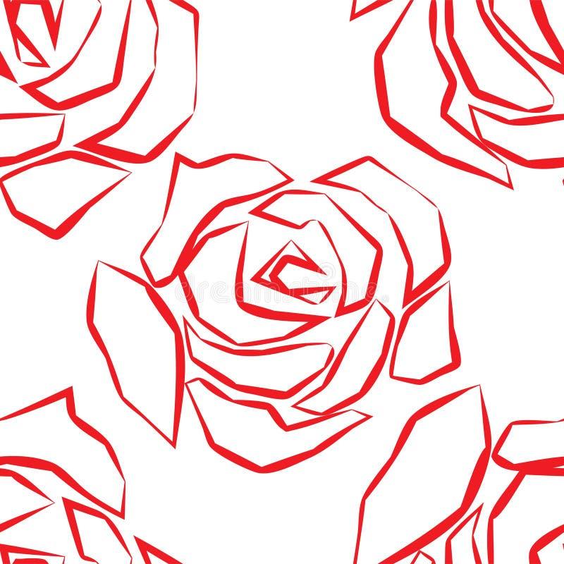 Безшовная картина с покрашенными розами r бесплатная иллюстрация