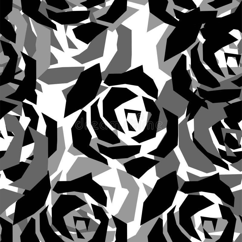 Безшовная картина с покрашенными розами r иллюстрация штока