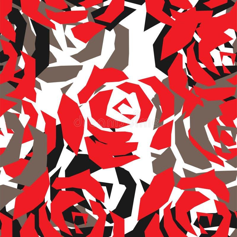 Безшовная картина с покрашенными розами r иллюстрация вектора
