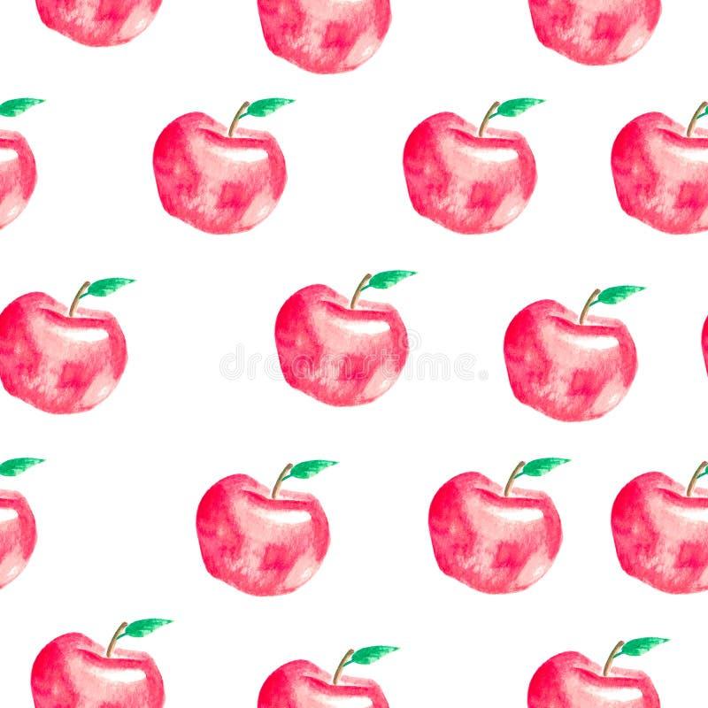 Безшовная картина с покрашенными рукой яблоками акварели иллюстрация штока