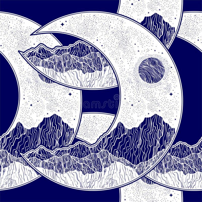 Безшовная картина с полумесяцем луны планеты бесплатная иллюстрация