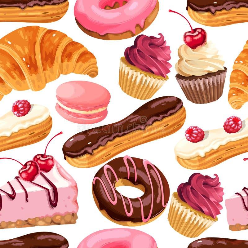 Безшовная картина с помадками ягоды и шоколада иллюстрация штока