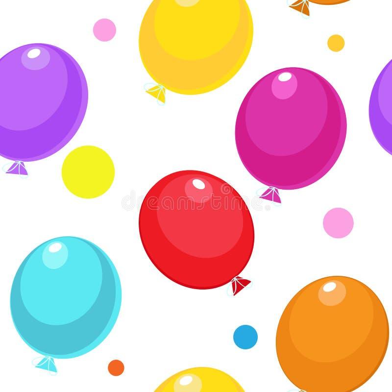 Безшовная картина с подарочными коробками и воздушными шарами иллюстрация вектора