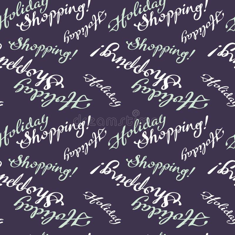Безшовная картина с & x22; Праздник Shopping& x22; текст иллюстрация вектора