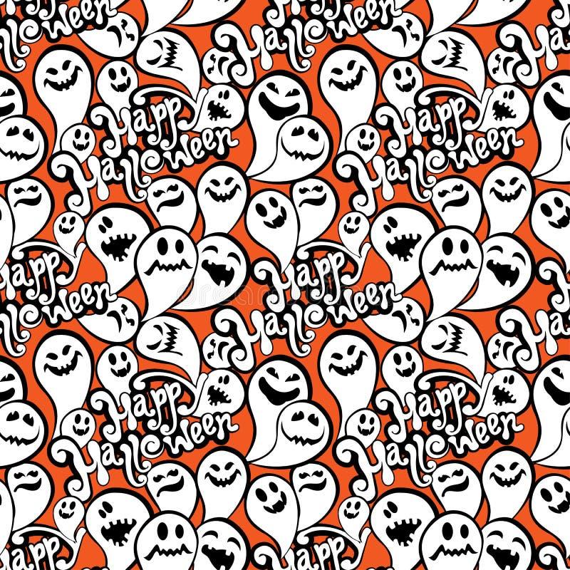 Безшовная картина с предпосылкой хеллоуина смешного призрака счастливой иллюстрация штока
