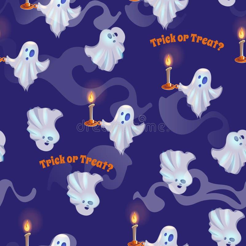 Безшовная картина с призраками на хеллоуин выходка обслуживания иллюстрация штока