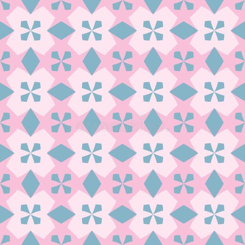 Безшовная картина с приказанным расположением абстрактных геометрических форм Изображение голубых крестов на розовой предпосылке  иллюстрация штока