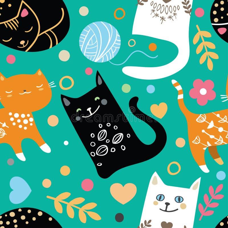 безшовная картина с притяжкой руки текстурировала котов в графическом стиле doodle Покрашенная бесконечная предпосылка иллюстрация вектора