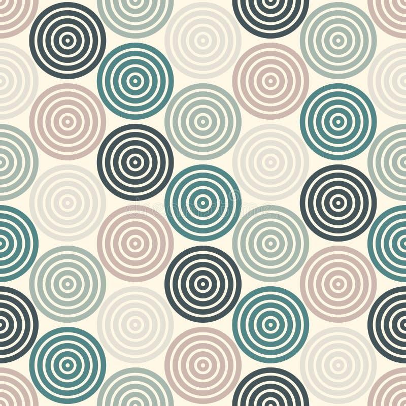 Безшовная картина с простыми геометрическими формами Повторенные обои кругов Абстрактная предпосылка с круглыми vortexes бесплатная иллюстрация