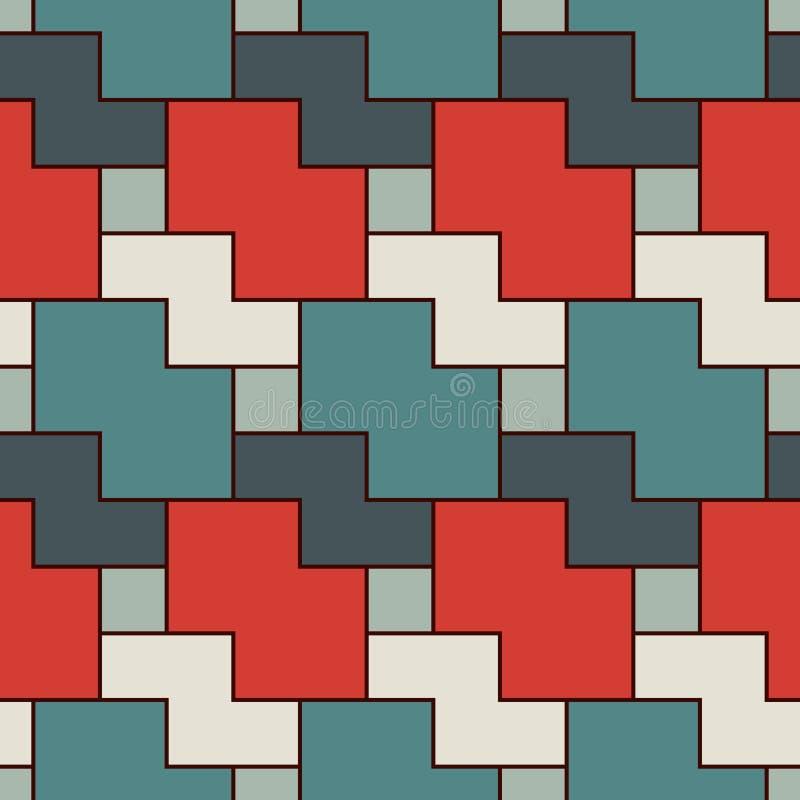 Безшовная картина с простым геометрическим орнаментом Повторенная предпосылка конспекта мозаики головоломки бесплатная иллюстрация
