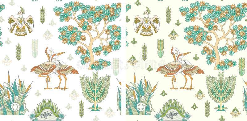 Безшовная картина с птицами аиста иллюстрация штока