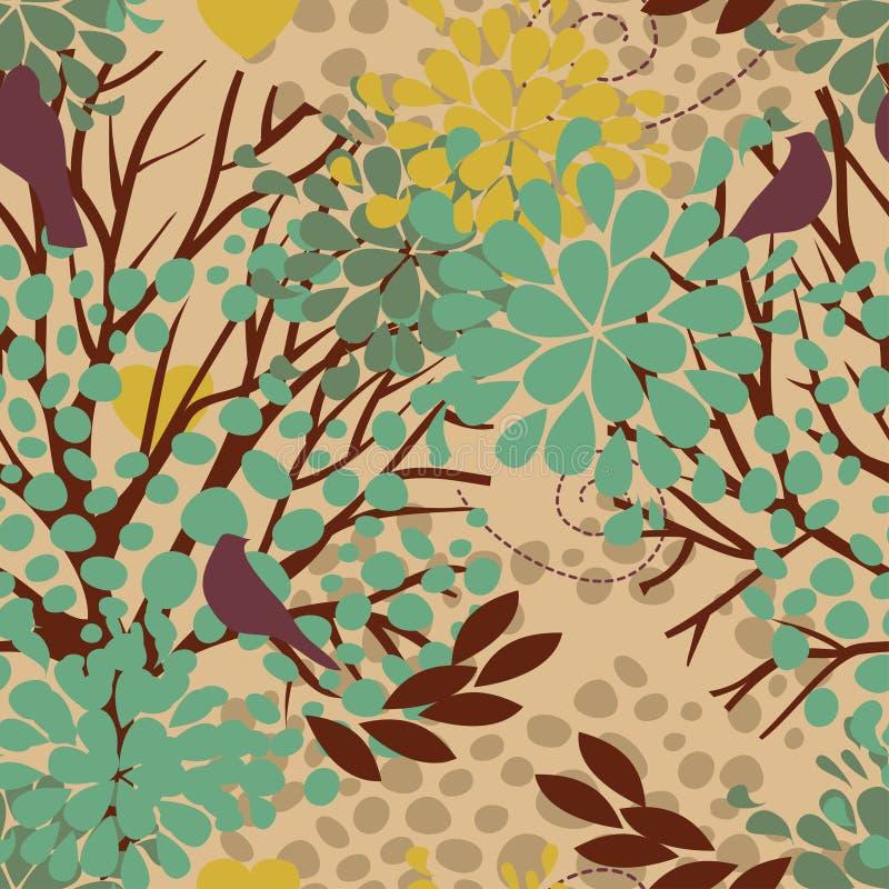 Безшовная картина с птицами и зацветая деревьями иллюстрация штока