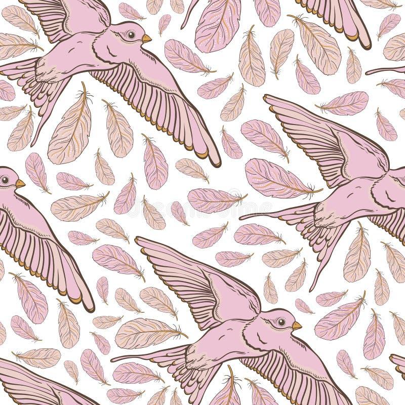 Безшовная картина с птицами ласточки и красивыми цветками Вышивка вектора для ткани и ткани моды иллюстрация штока