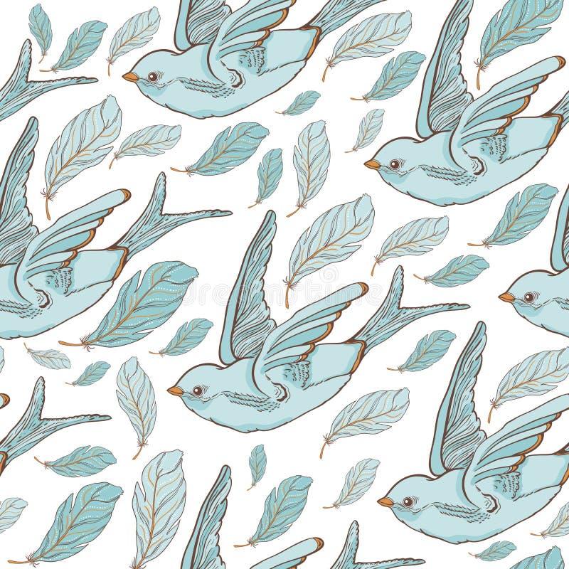 Безшовная картина с птицами ласточки и красивыми цветками Вышивка вектора для ткани и ткани моды бесплатная иллюстрация