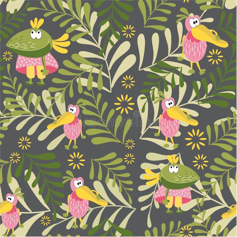 Безшовная картина с птицами феи Ворона и пеликан в glade леса Ботаническая предпосылка для комнаты детей, книг, тканей, c иллюстрация штока