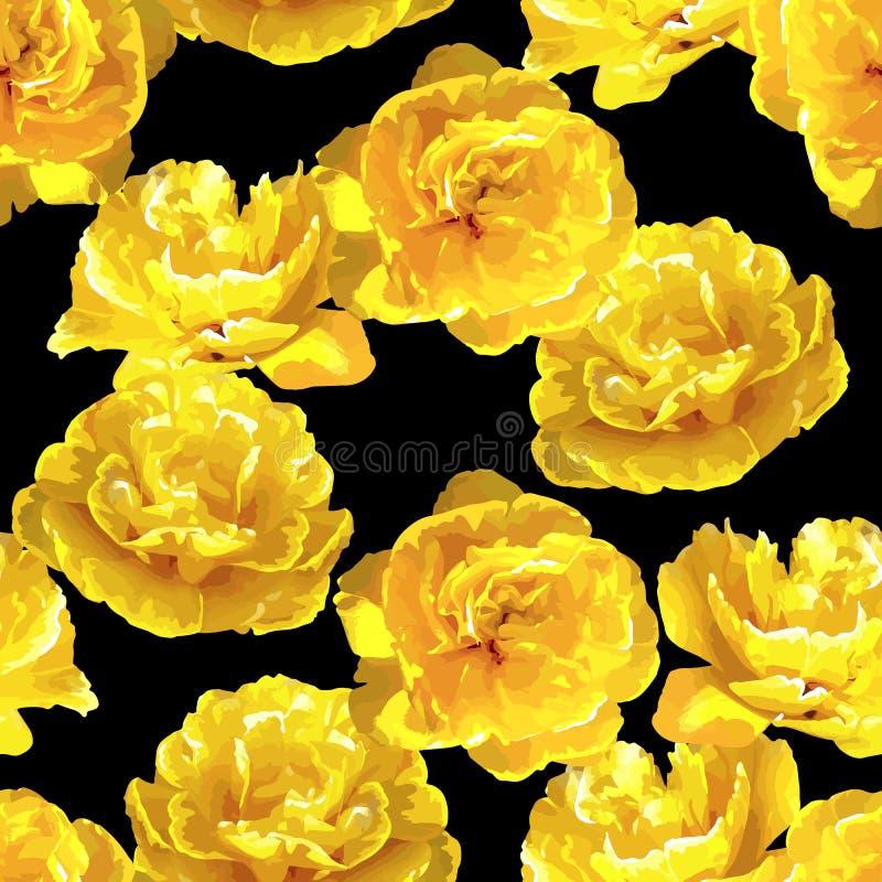 Безшовная картина с пушистыми желтыми тюльпанами Красивые реалистические цветки и бутоны бесплатная иллюстрация