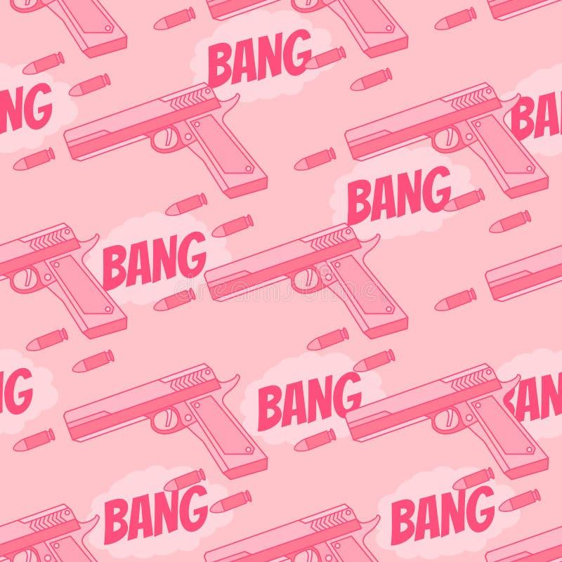 Безшовная картина с пулей, пистолетом bangers иллюстрация вектора