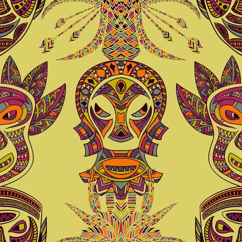 Безшовная картина с племенной маской и ацтекским геометрическим латино-американским орнаментом Красочной вектор нарисованный руко иллюстрация вектора
