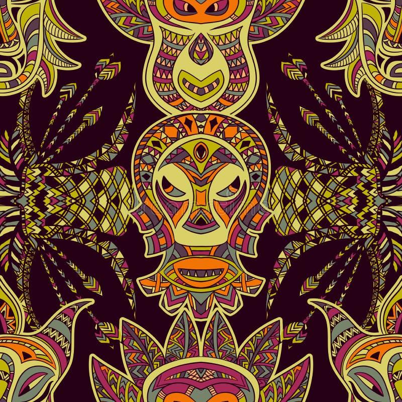 Безшовная картина с племенной маской и ацтекским геометрическим латино-американским орнаментом Красочной вектор нарисованный руко бесплатная иллюстрация