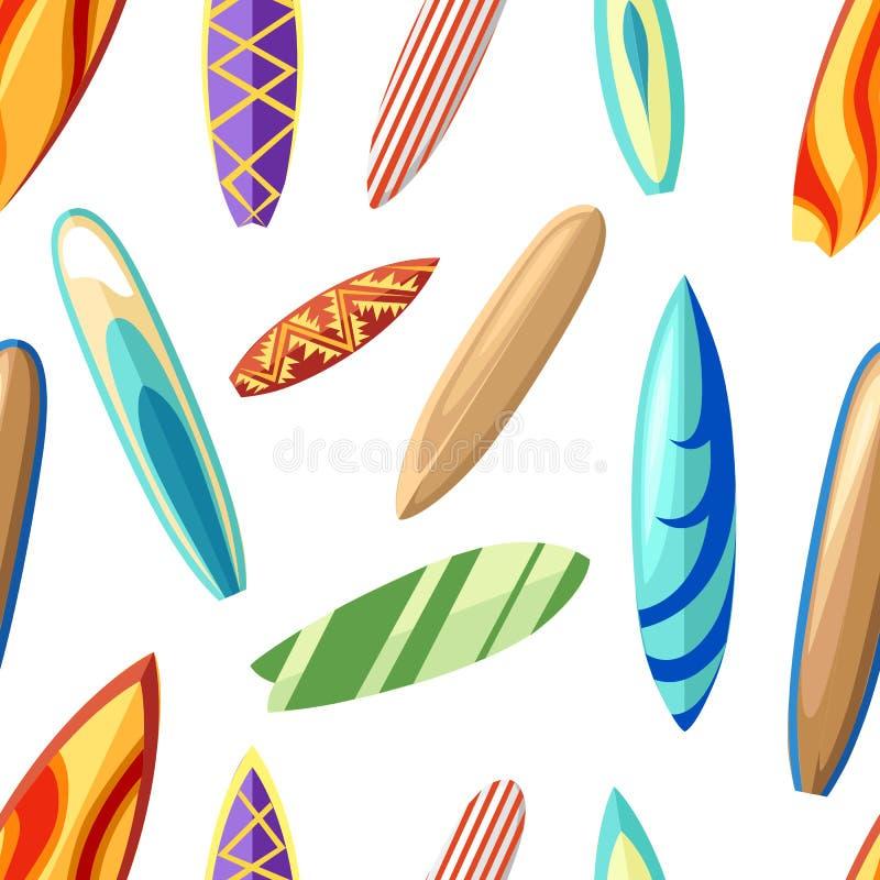 Безшовная картина с различной красочной иллюстрацией стиля шаржа surfboards на белых странице и черни вебсайта предпосылки иллюстрация штока