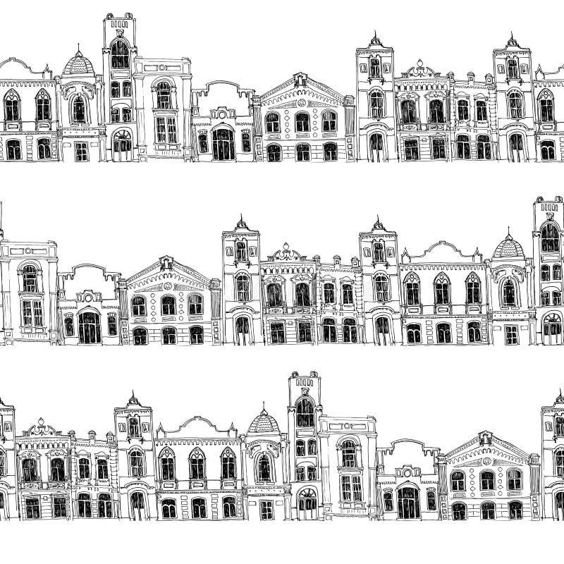 Безшовная картина с различными домами иллюстрация штока