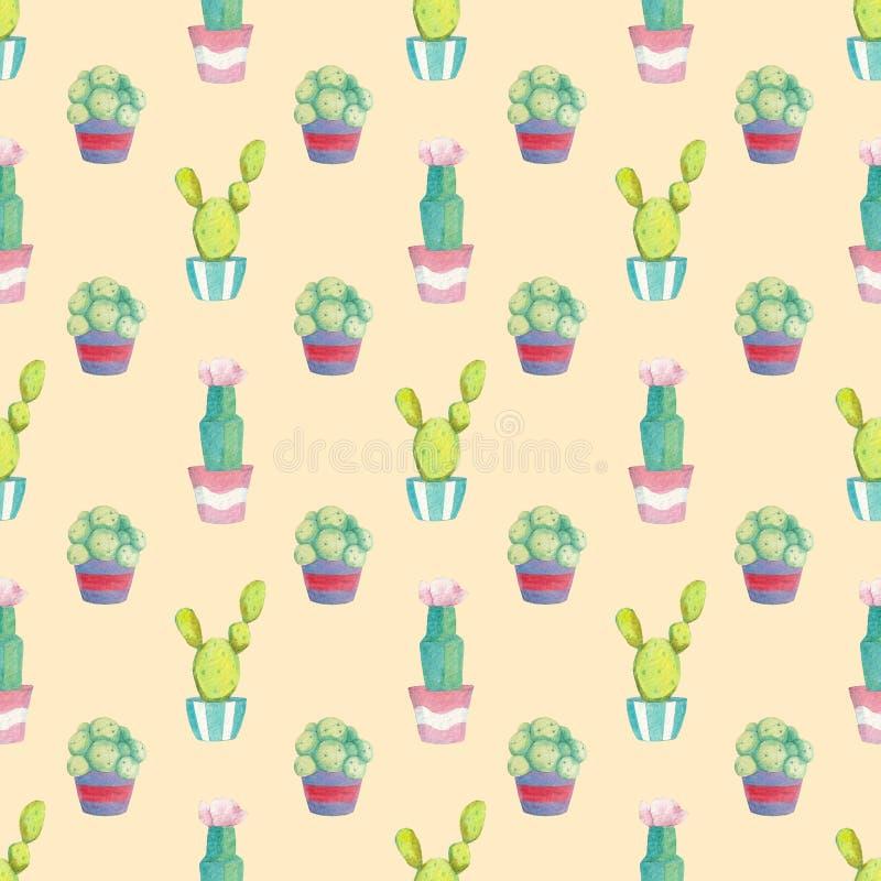 Безшовная картина с различными зелеными кактусами в пестротканых баках иллюстрация вектора