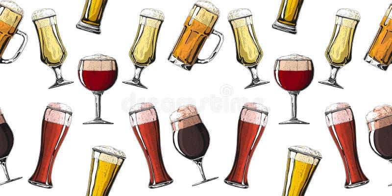 Безшовная картина с различными стеклами с пивом, различными кружками пива r стоковая фотография rf