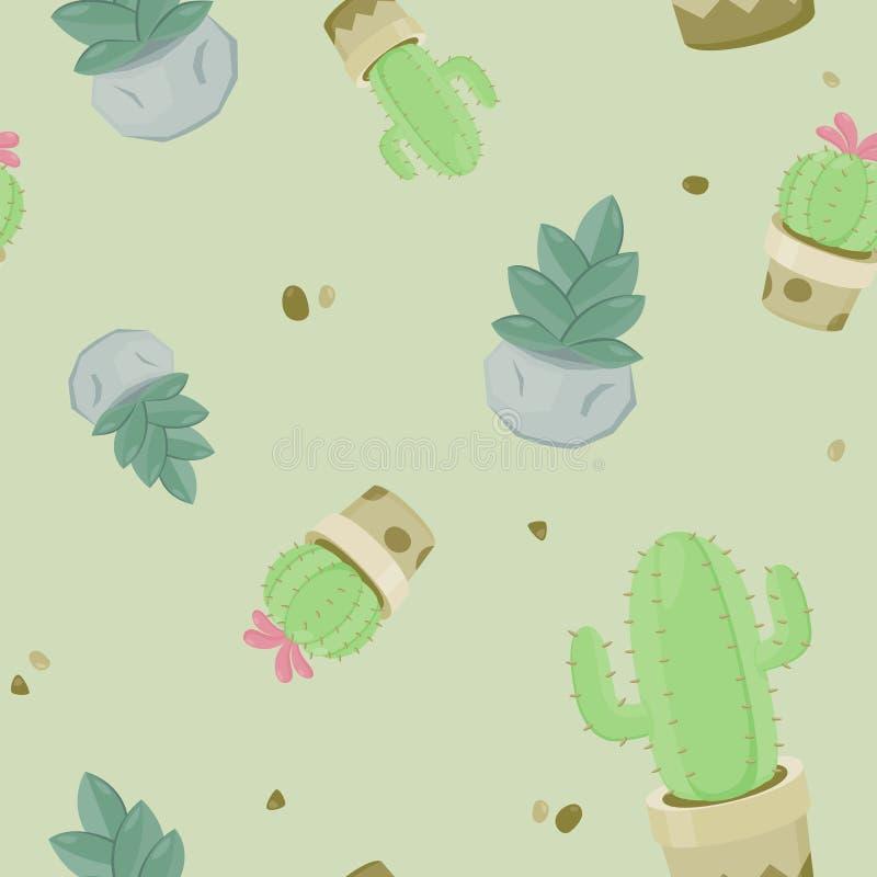 Безшовная картина с различным кактусом Повторенная текстура с зеленым кактусом Предпосылка картины с заводами пустыни иллюстрация штока