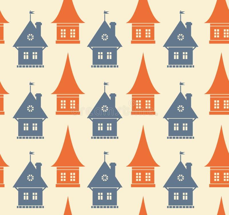 Безшовная картина с различными силуэтами домов. Простая геометрическая предпосылка городка. Текстура городского пейзажа иллюстрация вектора