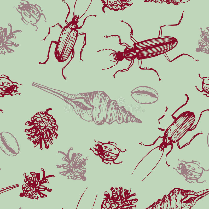 Безшовная картина с раковинами, конусами сосны и Beatles иллюстрация вектора