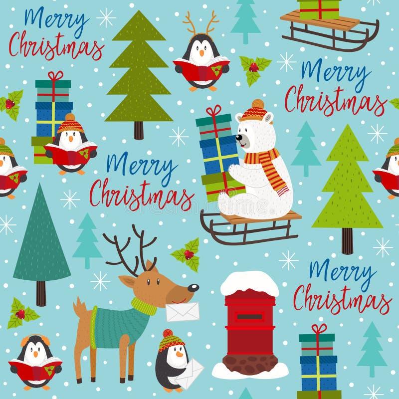 Безшовная картина с Рождеством Христовым с ледовитыми животными иллюстрация вектора