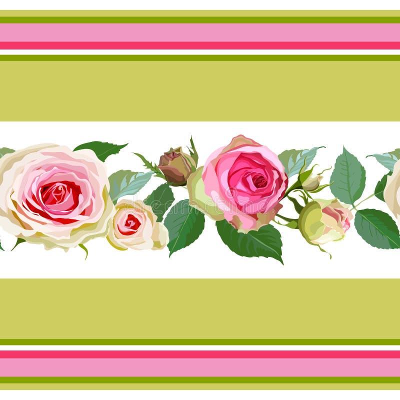 Безшовная картина с розами и нашивками бесплатная иллюстрация
