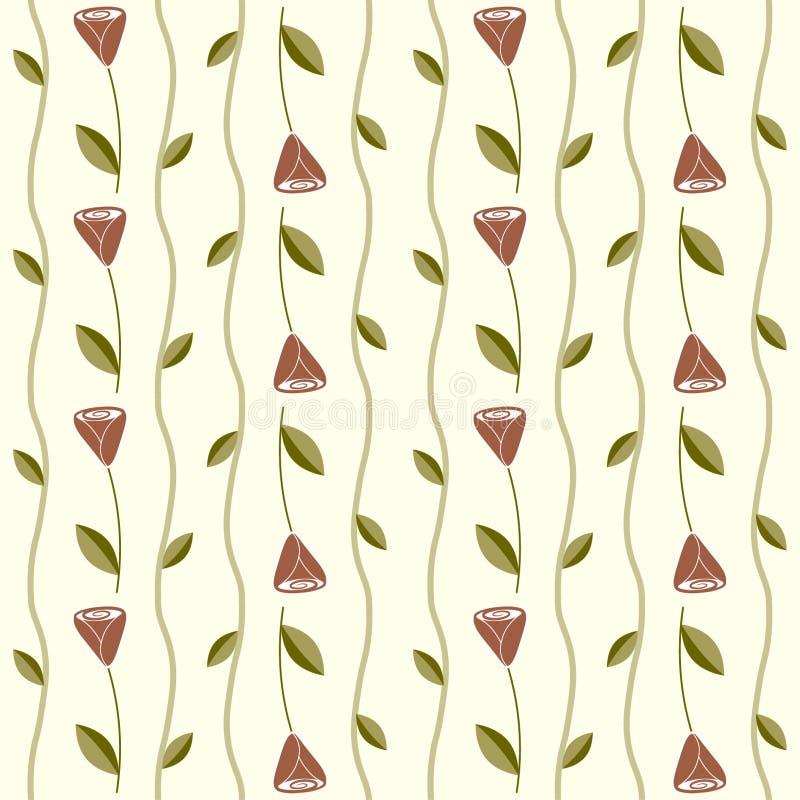 Безшовная картина с розами и лозами иллюстрация вектора