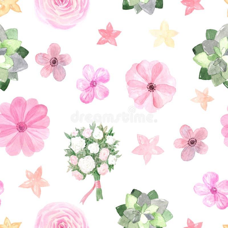 Безшовная картина с розовыми розами и ветреницами стоковое фото rf