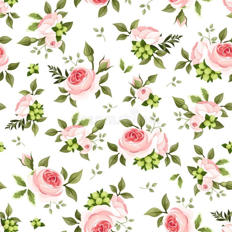 Безшовная картина с розовыми розами и листьями зеленого цвета также вектор иллюстрации притяжки corel бесплатная иллюстрация