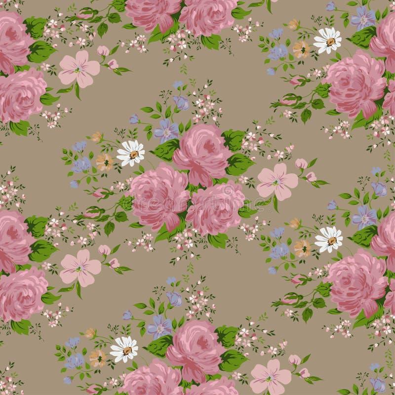 Безшовная картина с розовыми розами и цветками бесплатная иллюстрация