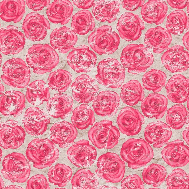 Безшовная картина с розовыми розами на старой бумажной предпосылке иллюстрация вектора