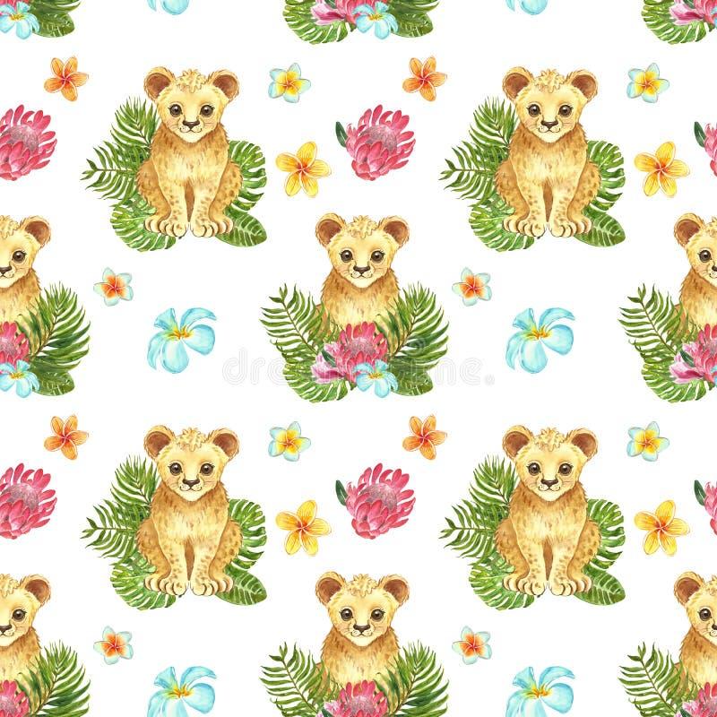 Безшовная картина с рукой акварели покрасила милого новичка льва, зеленых тропических листьев и экзотических цветков Печать джунг стоковое изображение