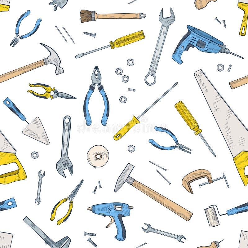 Безшовная картина с ручными и электрическими инструментами для домашних ремонта и обслуживания Фон с оборудованием для ремесленни иллюстрация вектора