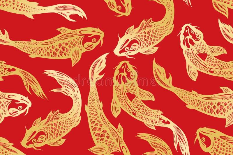 Безшовная картина с рыбами карпа koi пруд Предпосылка в китайском стиле вычерченная рука иллюстрация штока