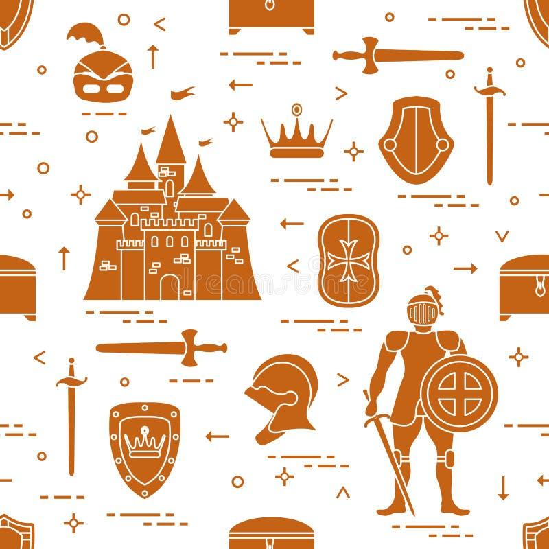 Безшовная картина с рыцарем, замком, экранами, шпагами, кирасой, шлемом, кроной, дизайном сундука с сокровищами для знамени или п иллюстрация вектора