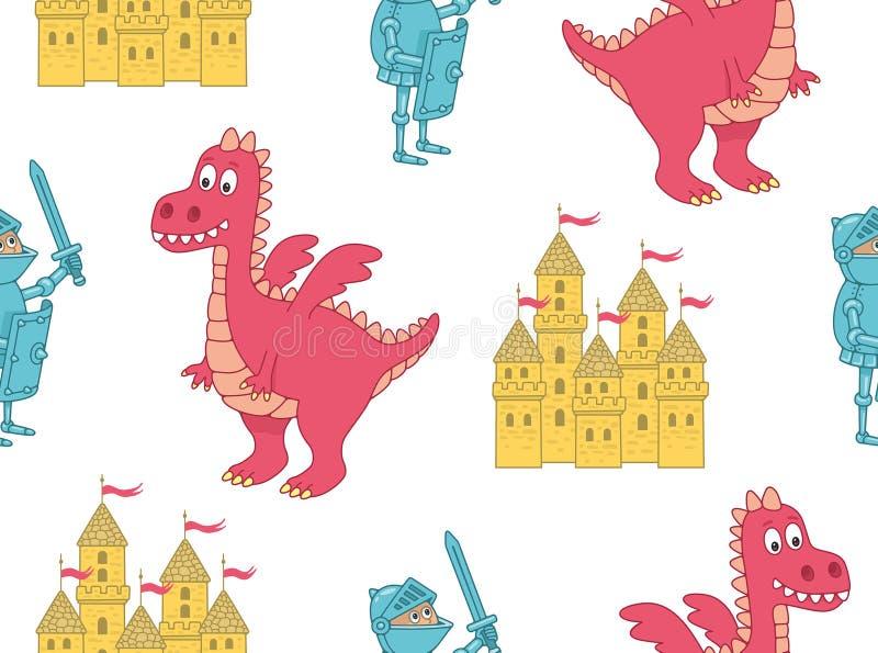 Безшовная картина с рыцарем и драконом иллюстрация вектора