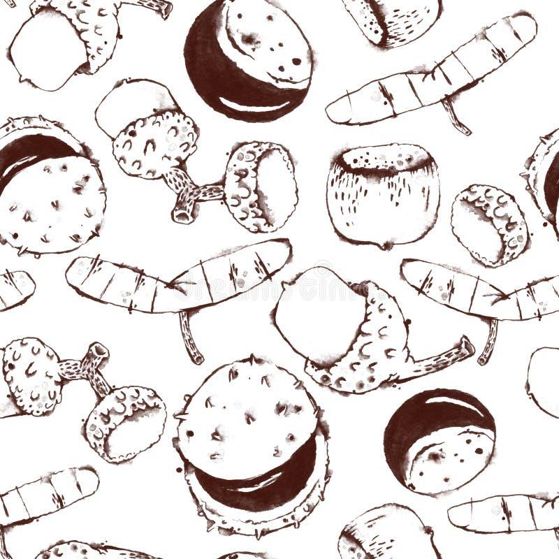 Безшовная картина с семенами и гайками акварели планов иллюстрация вектора