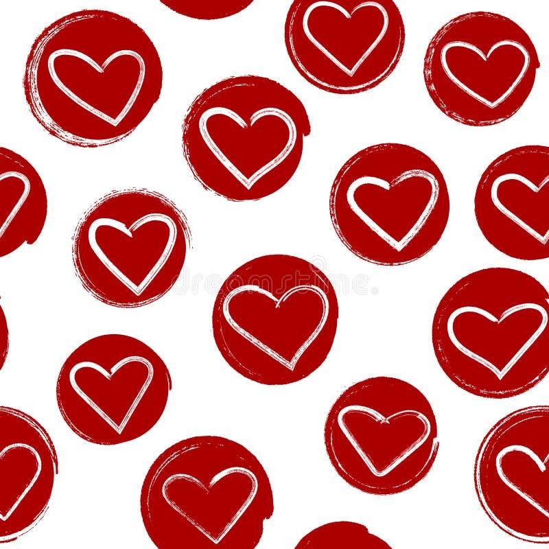 Безшовная картина с сердцами внутри красных нарисованных вручную кругов вакханические стоковая фотография