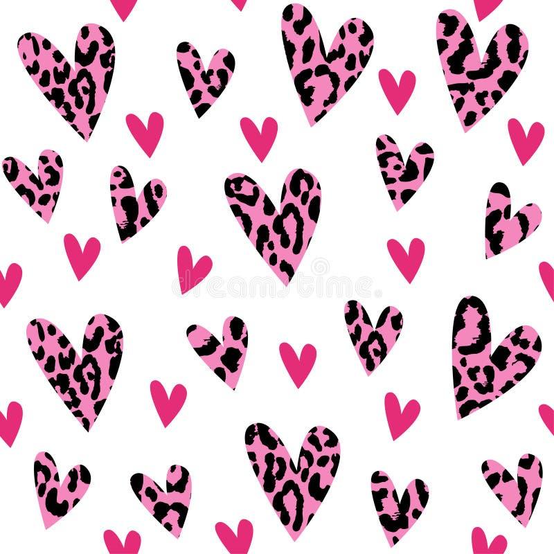 Безшовная картина с сердцами леопарда, ультрамодный дизайн, предпосылка иллюстрации вектора бесплатная иллюстрация