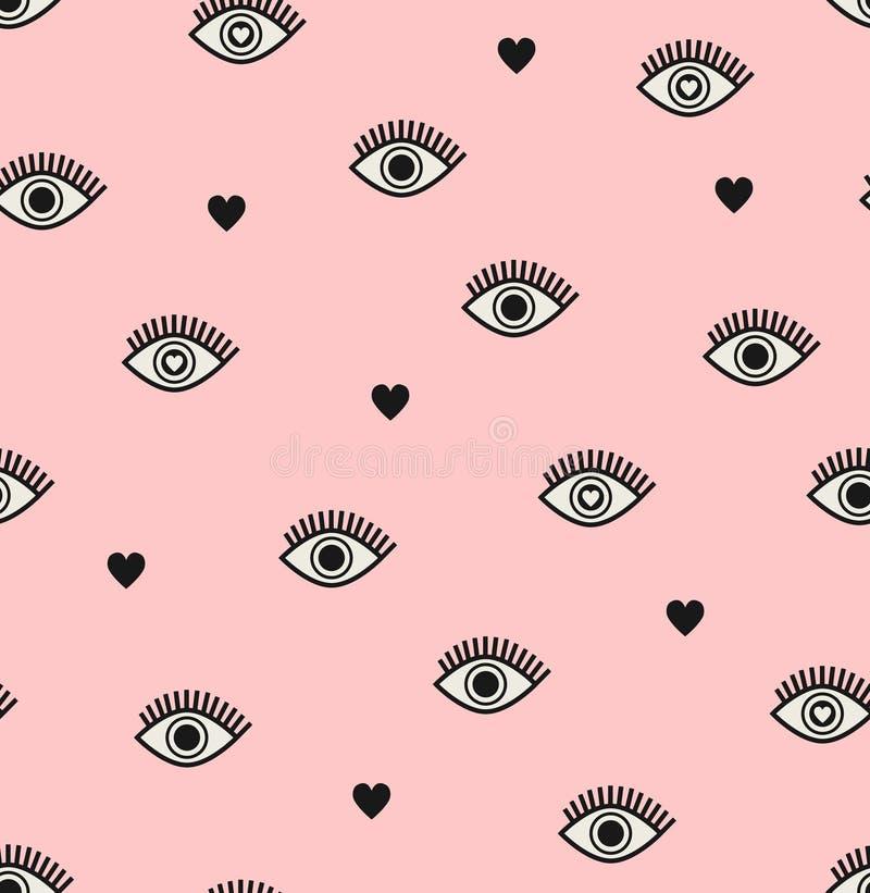 Безшовная картина с сердцами и глазами иллюстрация вектора