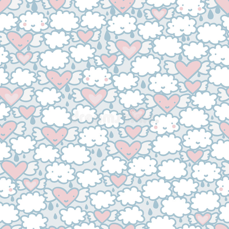 Безшовная картина с сердцами и облаками. иллюстрация вектора