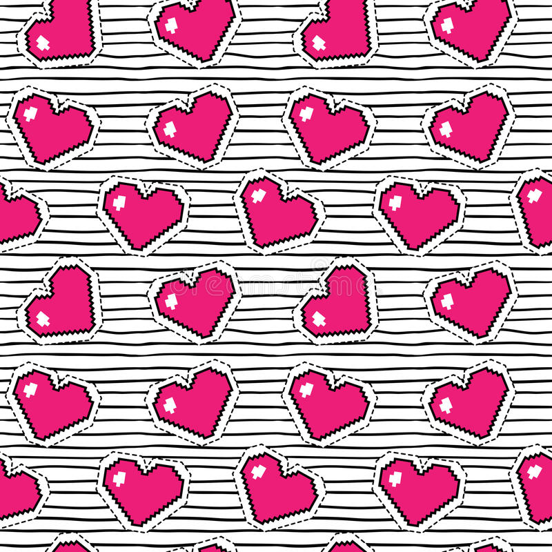 Безшовная картина с сердцами пиксела Предпосылка вектора бесплатная иллюстрация