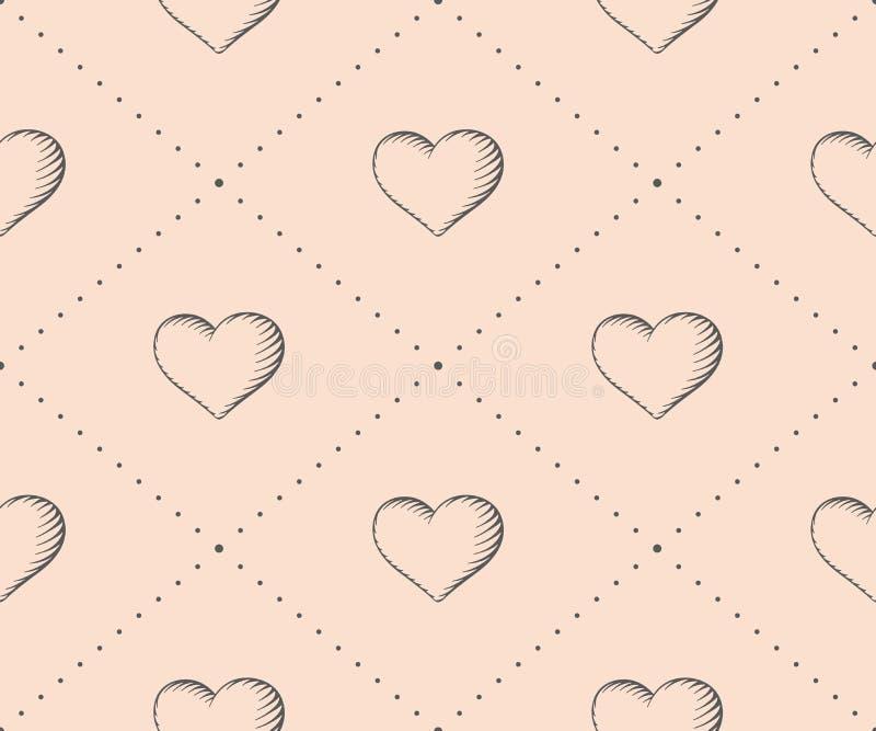 Безшовная картина с сердцем в винтажной гравировке стиля на бежевой предпосылке на день валентинки вычерченная рука иллюстрация штока